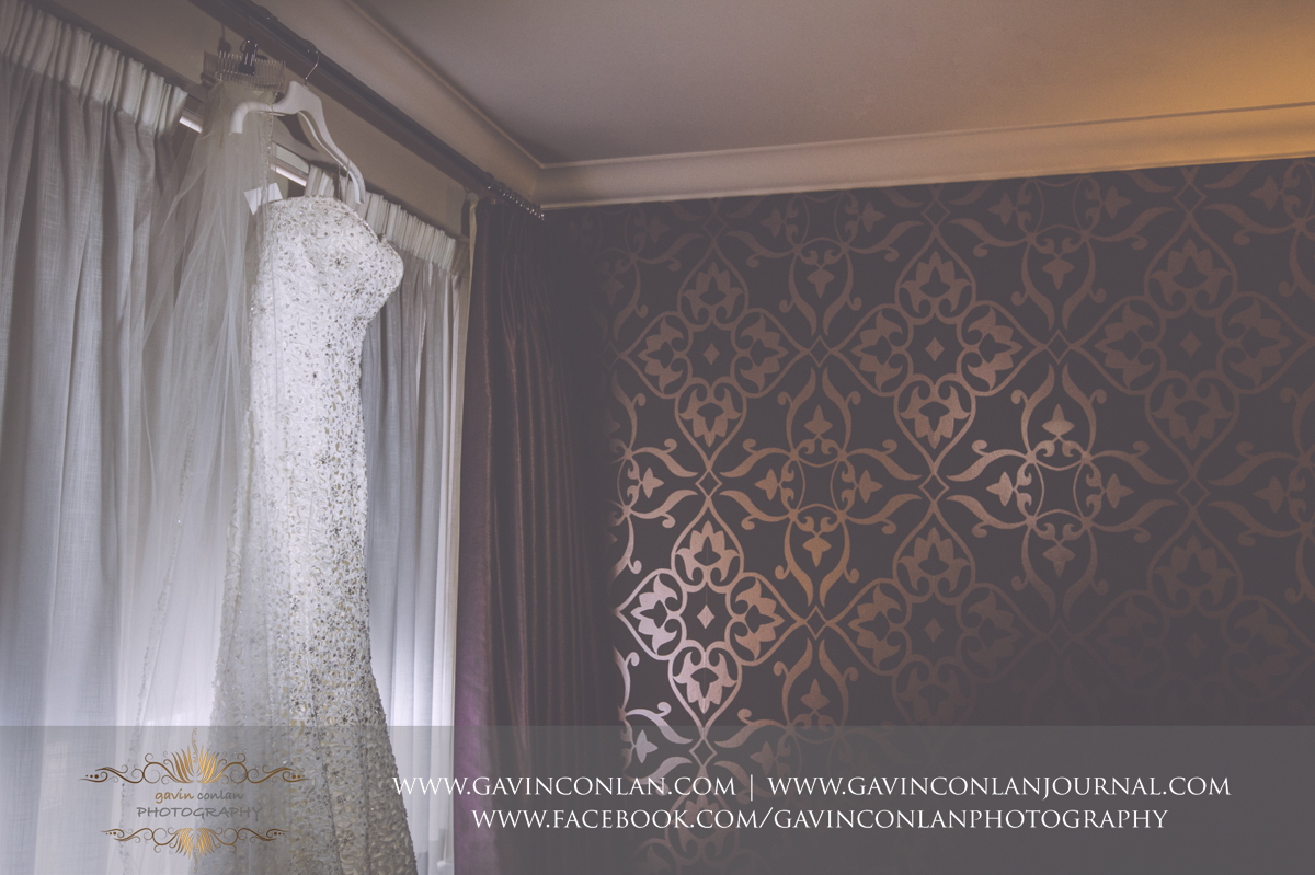 creative detail photograph of the brides wedding dress at the Best Western Ivy Hill Hotel. Wedding photography at  Best Western Ivy Hill Hotel  by  gavin conlan photography Ltd