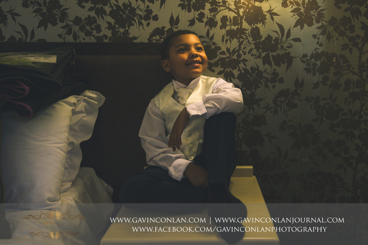 beautiful portrait of the bride and grooms son in his wedding attire at the Best Western Ivy Hill Hotel. Wedding photography at  Best Western Ivy Hill Hotel  by  gavin conlan photography Ltd