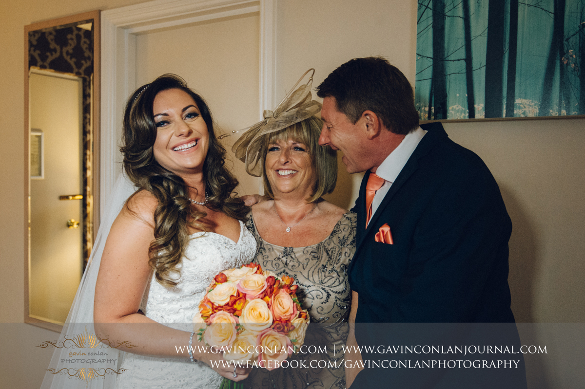 a portrait full of beautiful expressions and emotions of the bride and her parents at the Best Western Ivy Hill Hotel. Wedding photography at  Best Western Ivy Hill Hotel  by  gavin conlan photography Ltd