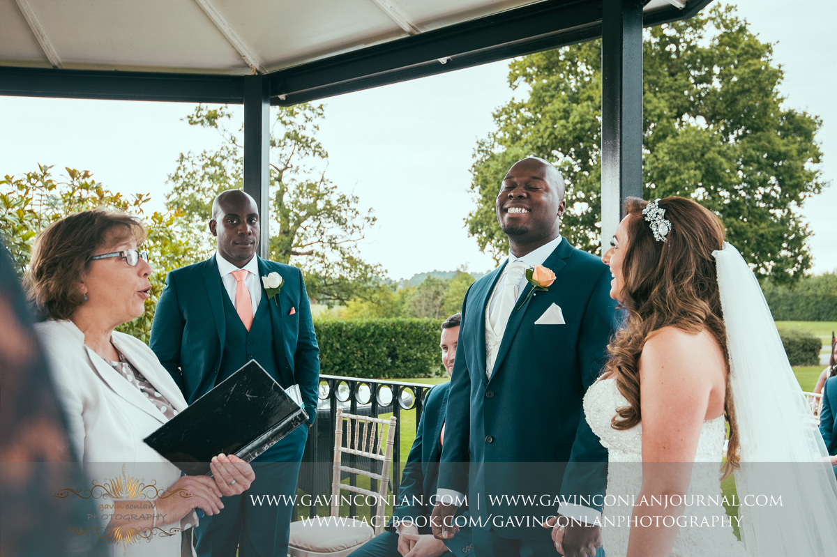 creative ceremony portrait full of happiness and emotion on The Lawn at Stock Brook Country Club. Wedding photography at  Stock Brook Country Club  by  gavin conlan photography Ltd