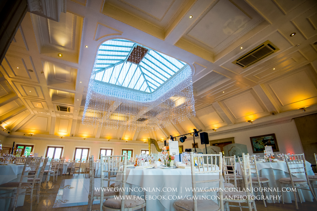 the wedding breakfast all set up in The Banqueting Suite at Stock Brook Country Club. Wedding photography at  Stock Brook Country Club  by  gavin conlan photography Ltd