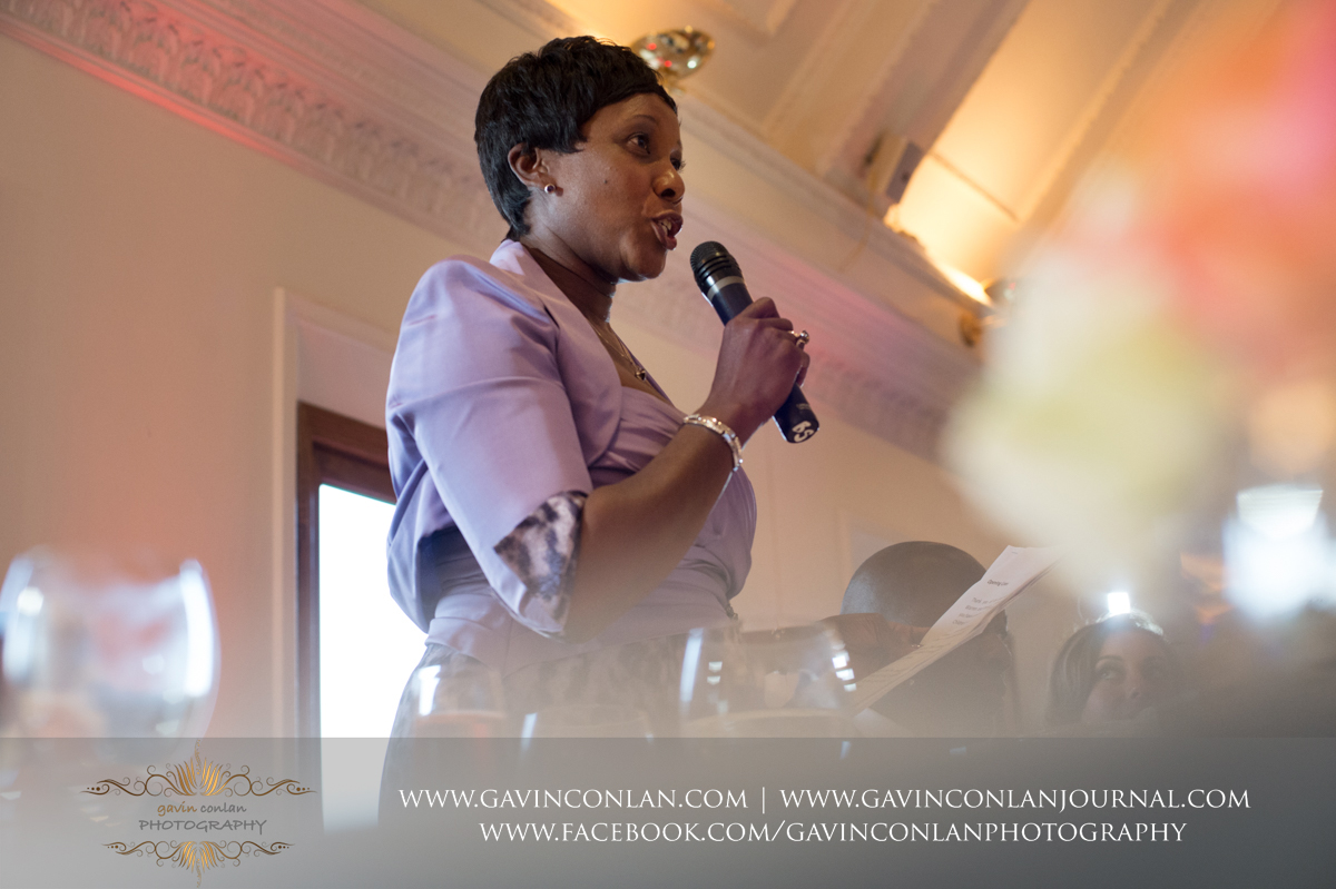 the mother of the groom during her speech in The Banqueting Suite at Stock Brook Country Club. Wedding photography at  Stock Brook Country Club  by  gavin conlan photography Ltd