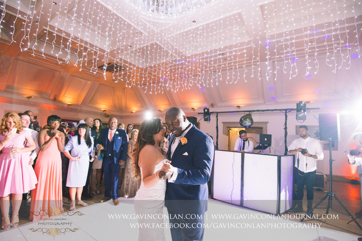 portrait of the bride and groom during their first dance in The Banqueting Suite at Stock Brook Country Club. Wedding photography at  Stock Brook Country Club  by  gavin conlan photography Ltd