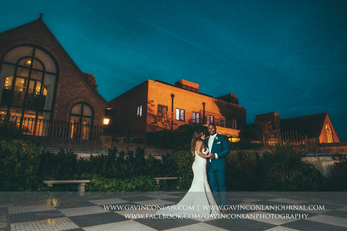 creative fashion portrait of the bride and groom in the Sunken Garden at Stock Brook Country Club. Wedding photography at  Stock Brook Country Club  by  gavin conlan photography Ltd