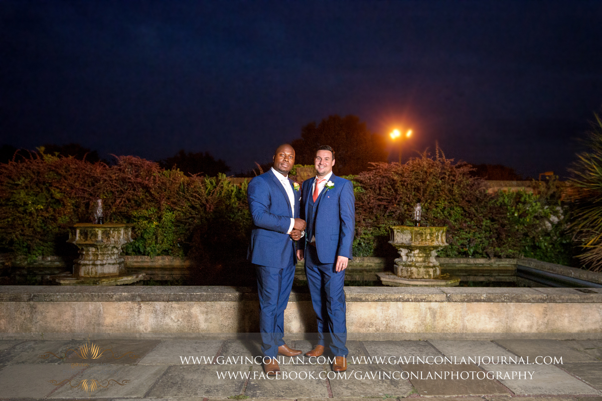 portrait of the Groom and his Best Man in the Sunken Garden at Stock Brook Country Club. Wedding photography at  Stock Brook Country Club  by  gavin conlan photography Ltd