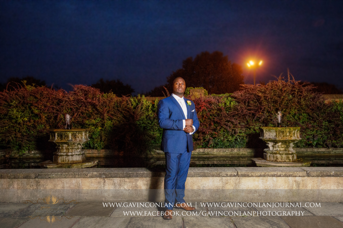 portrait of the Groom in the Sunken Garden at Stock Brook Country Club. Wedding photography at  Stock Brook Country Club  by  gavin conlan photography Ltd