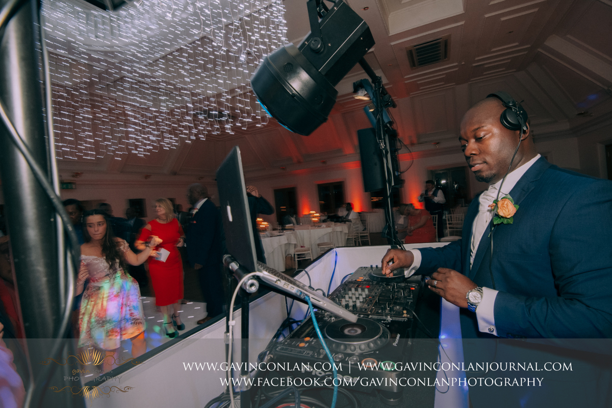 the groom doing an awesome session on the decks during the wedding reception in The Banqueting Suite at Stock Brook Country Club. Wedding photography at  Stock Brook Country Club  by  gavin conlan photography Ltd