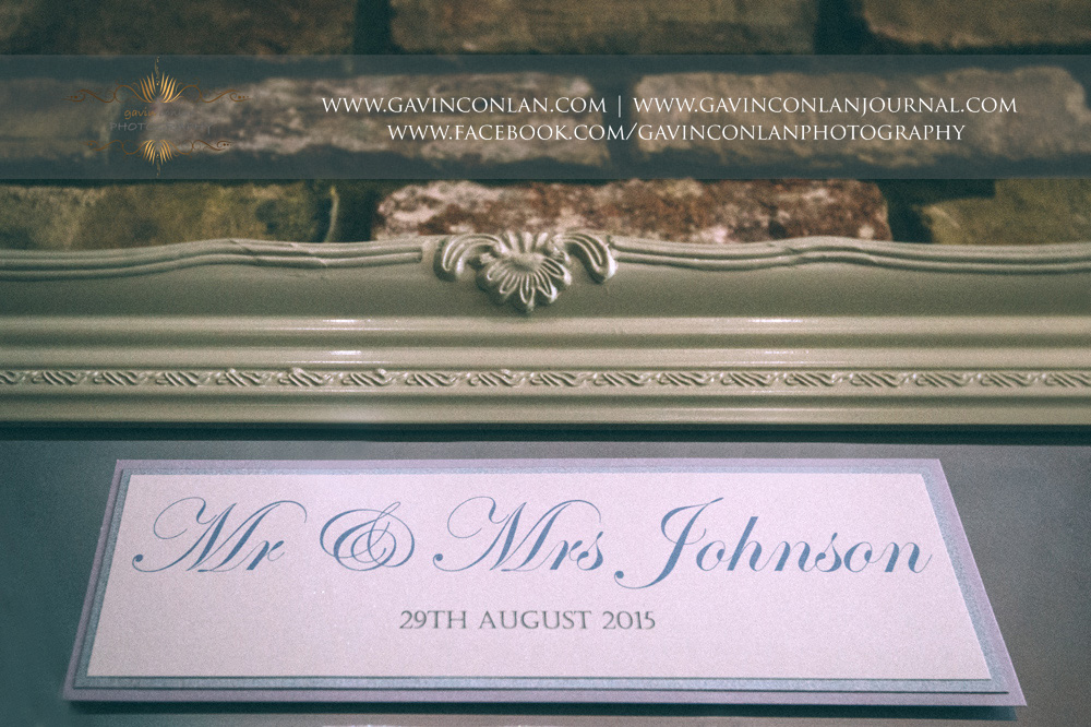 creative detail photograph of Mr & Mrs Johnson table plan at Great Hallingbury Manor. Essex wedding photography at  Great Hallingbury Manor  by  gavin conlan photography Ltd
