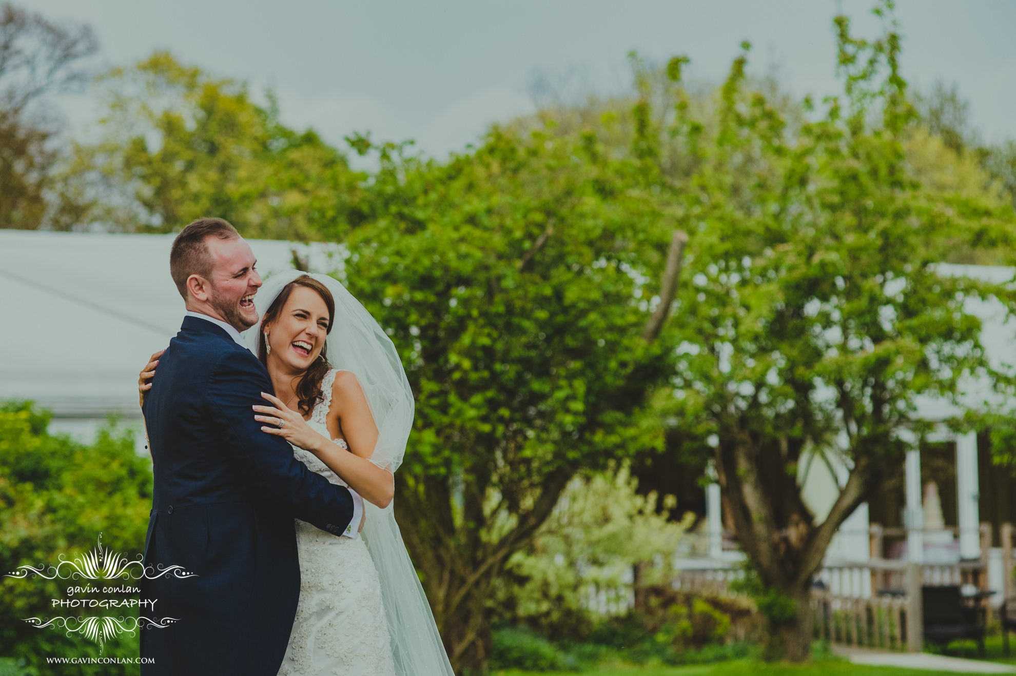 portrait of the happy couple at the fennes