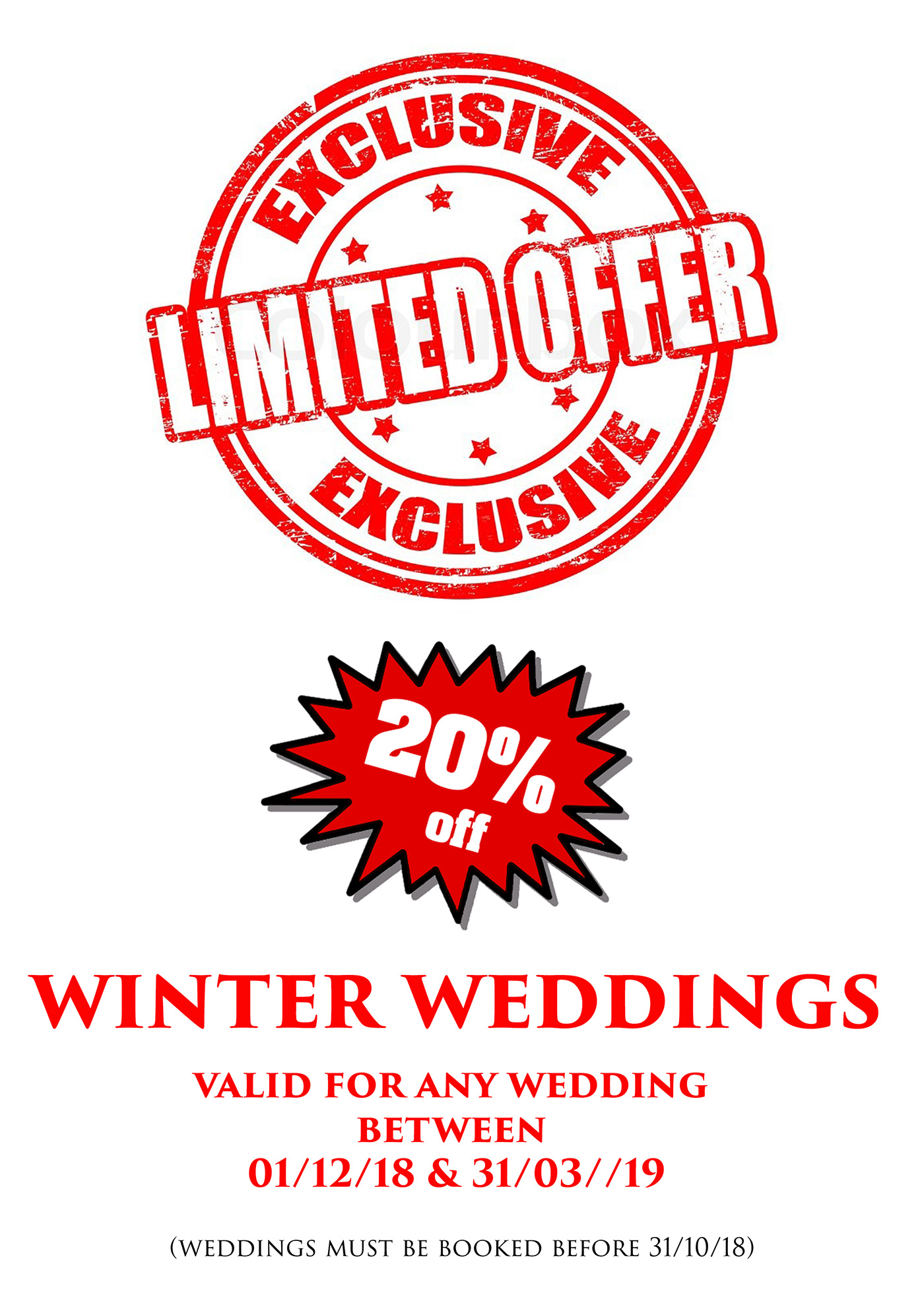 **EXCLUSIVE LIMITED WINTER WEDDING SPECIAL OFFER   for weddings between 1st December 2018 and the 31st March 2019 if booked before the 31st October 2018.