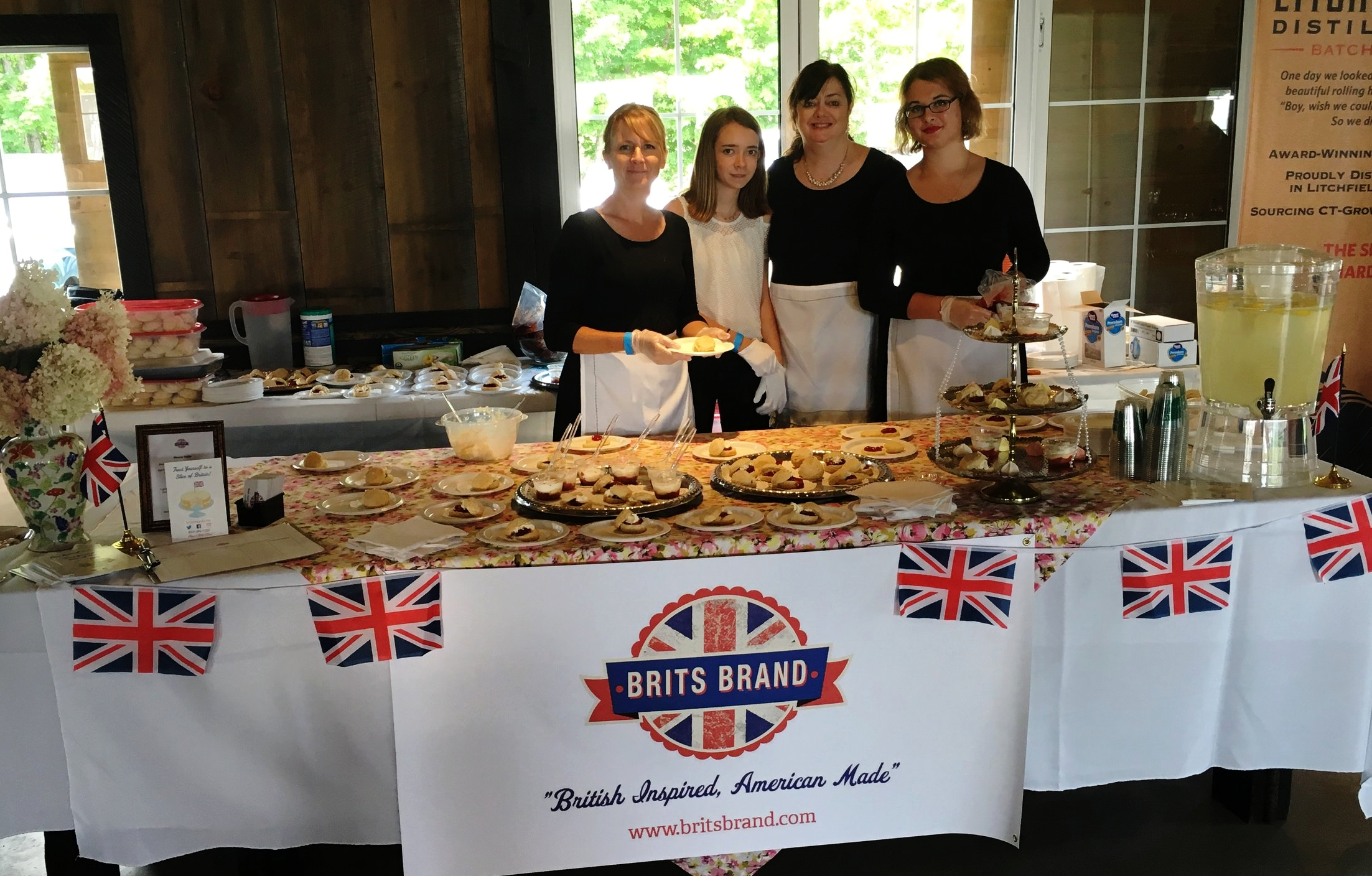 Our setup—the Union Jack bunting is an essential part of any British-themed tea service