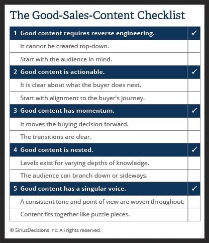 sales content checklist