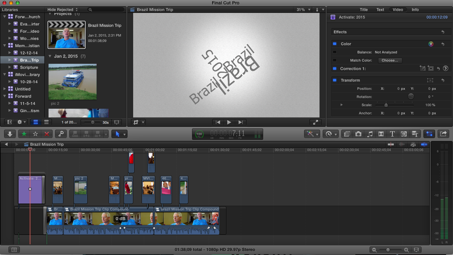 Working on a recent video project.