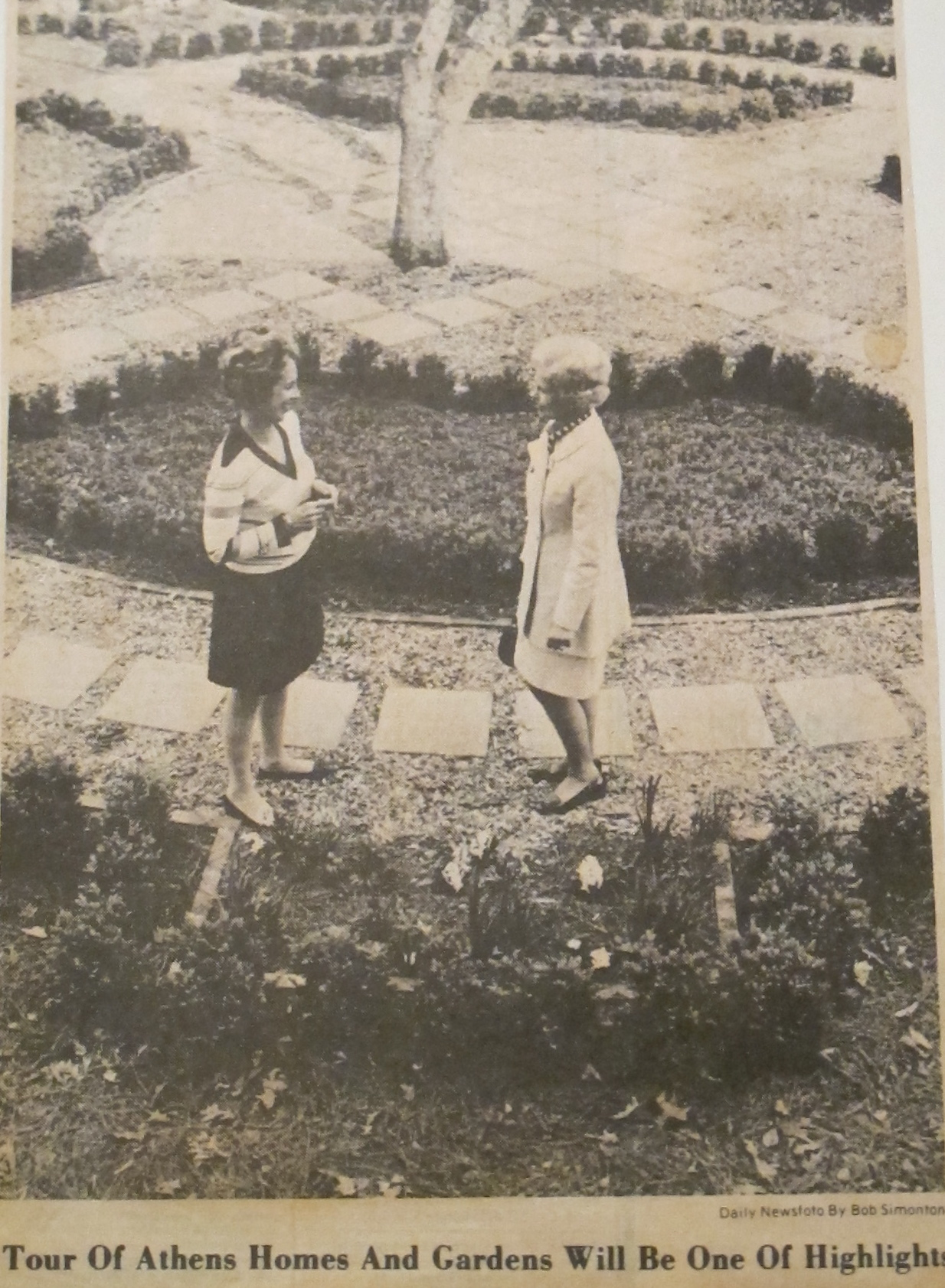 Early photo of the Boxwood garden designed by Hubert B. Owens.  Owens  established one of the first programs in Landscape Architecture in the country at University of Georgia in 1928.
