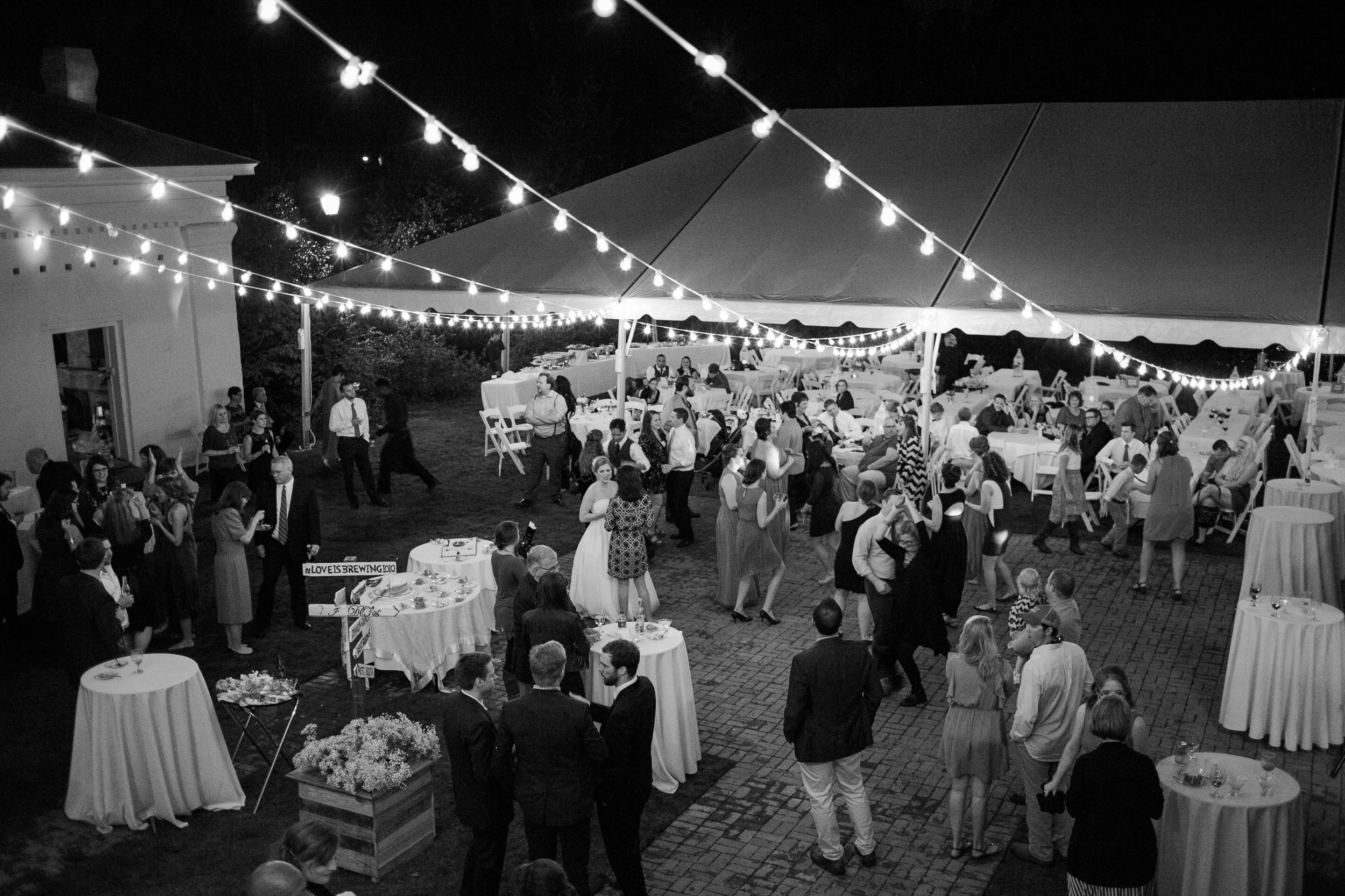 Our backyard is the perfect place for your reception. Anna and Will rented a 40x60 tent and lighting from Goodwin Rentals for their 225 person event.