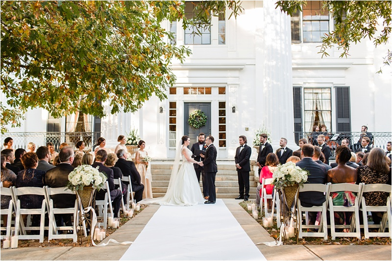 2. House Facade - For the most formal weddings, and for those lovers of the beautiful Greek Revival architecture of the House, the front of the house can't be beat! Perfect for all seasons, here we see a late October ceremony. Photo by  Anna Shakleford