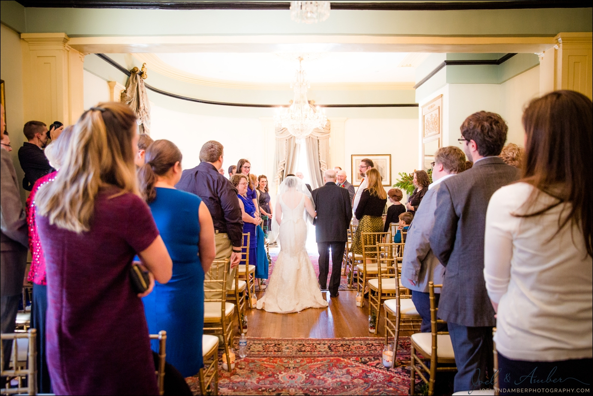 5. The Ballroom - Ideal for a guest count under 60, makes for the perfect intimate wedding ceremony. Here we see a lovely winter wedding, held on Christmas Eve-eve. Photography by  Joel and Amber Wedding Photography