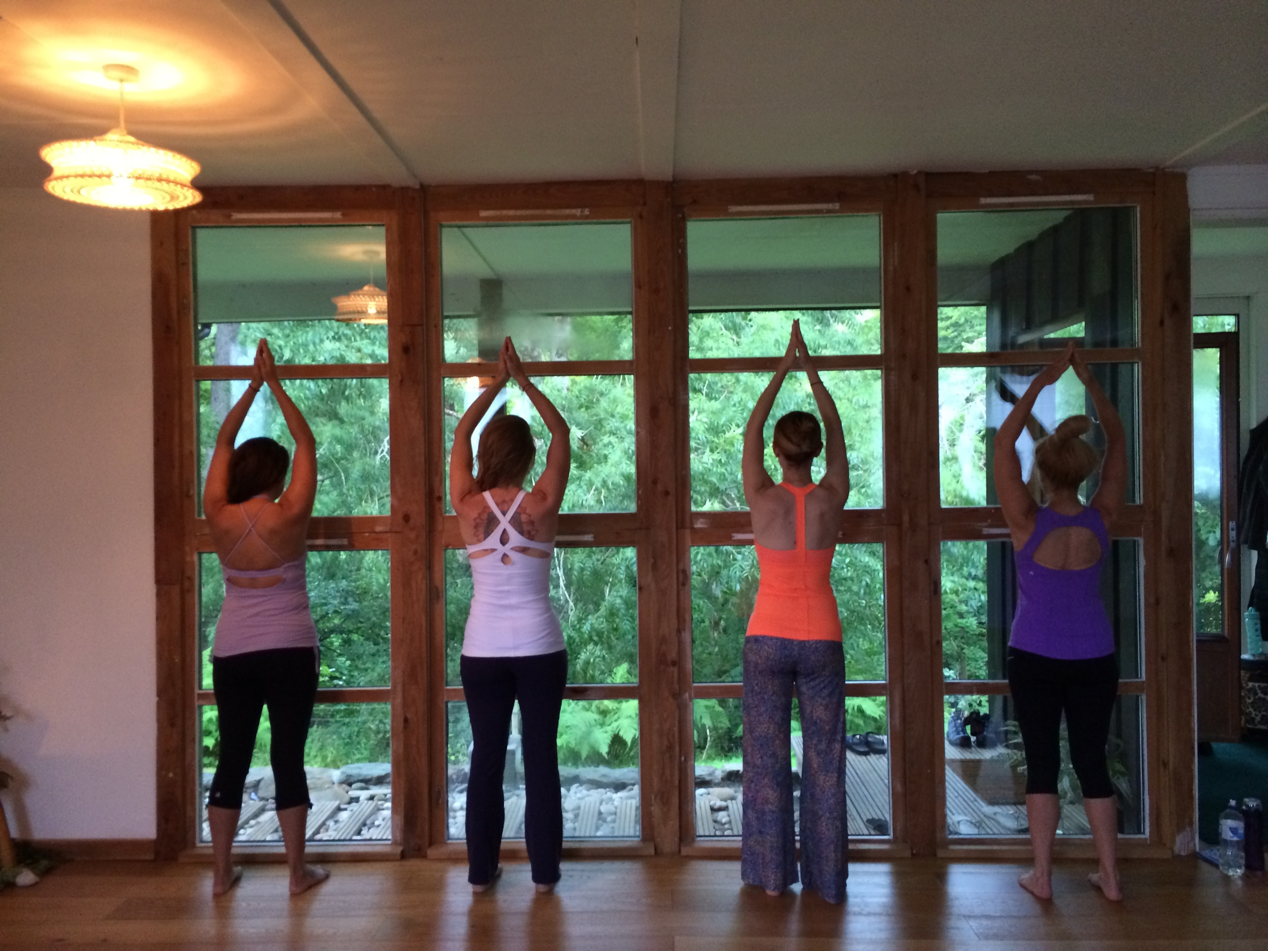 Practicing yoga daily in the forest glen