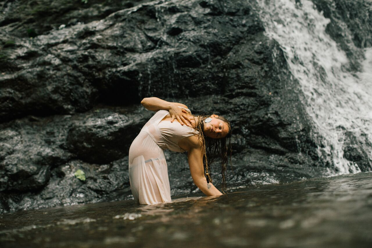 Camel Pose (Ustrasana) variation At Malanoche Waterfall in Guanacaste, Costa Rica, 2017
