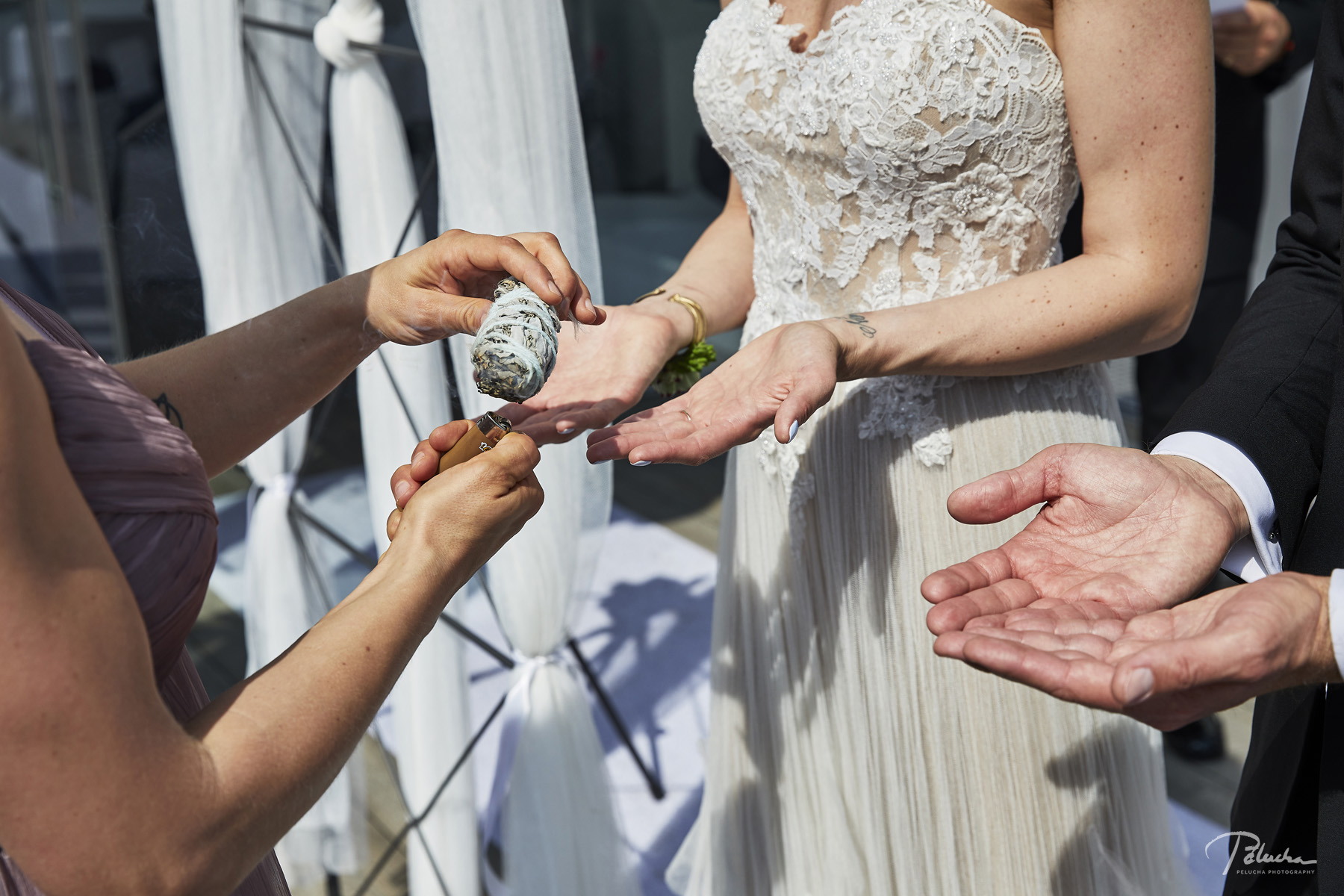Me Smudging the Couple Before Their Ceremony