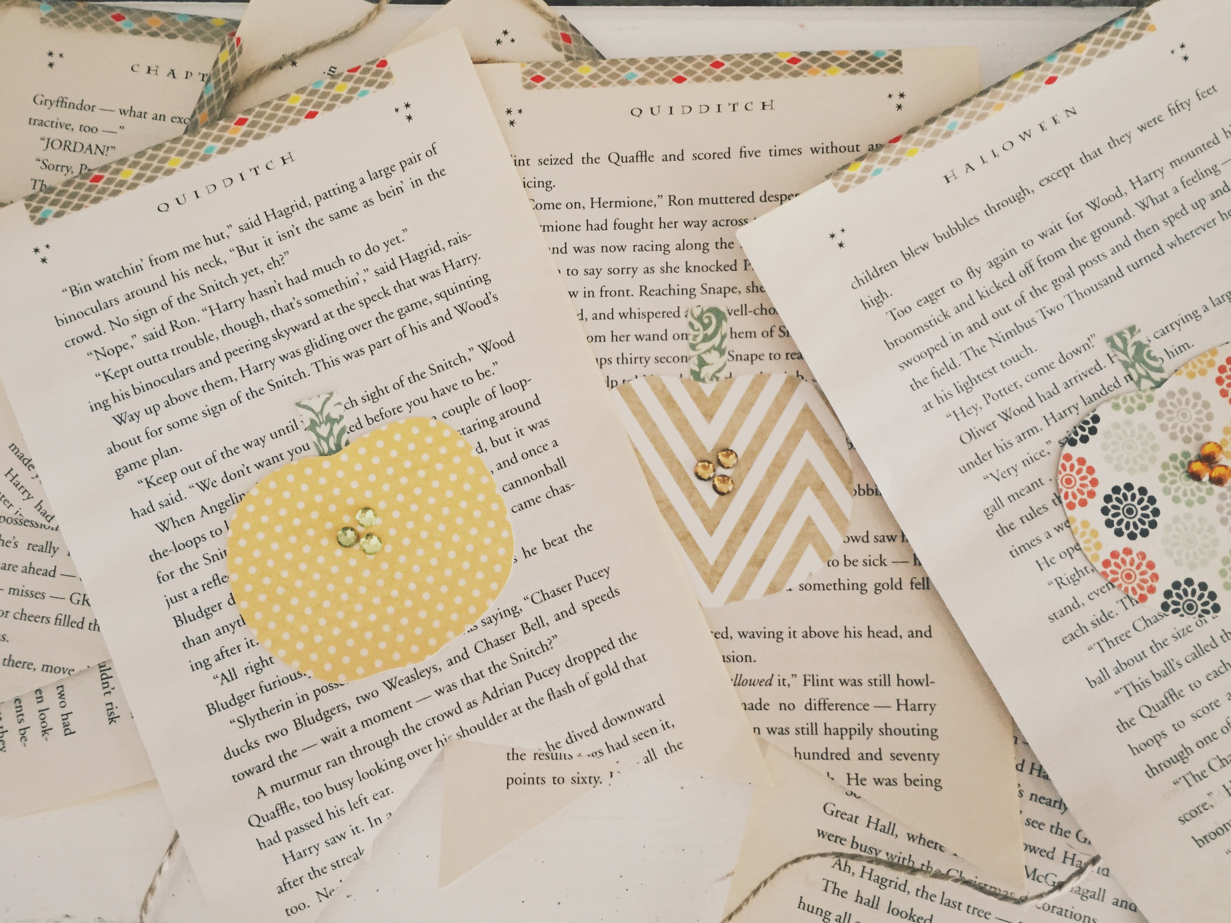 Lil Pumpkin baby shower theme- Pumpkin on Harry Potter book page bunting | finicky designs