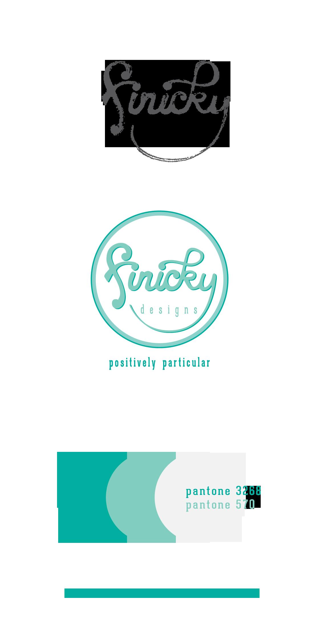 Finicky Designs logo development and brand