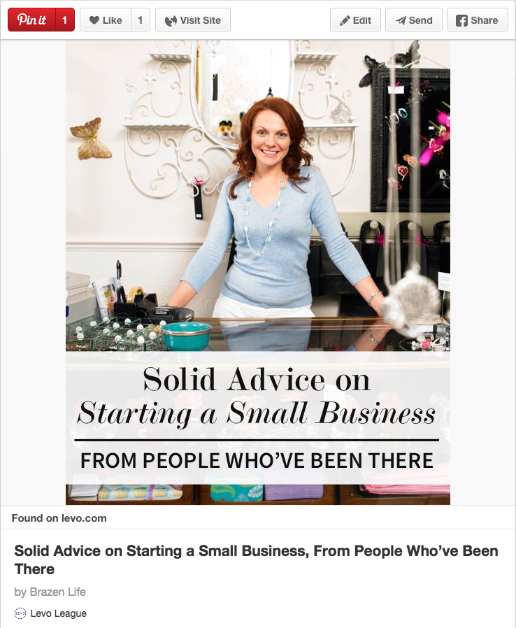 Solid advice on starting a small business pin