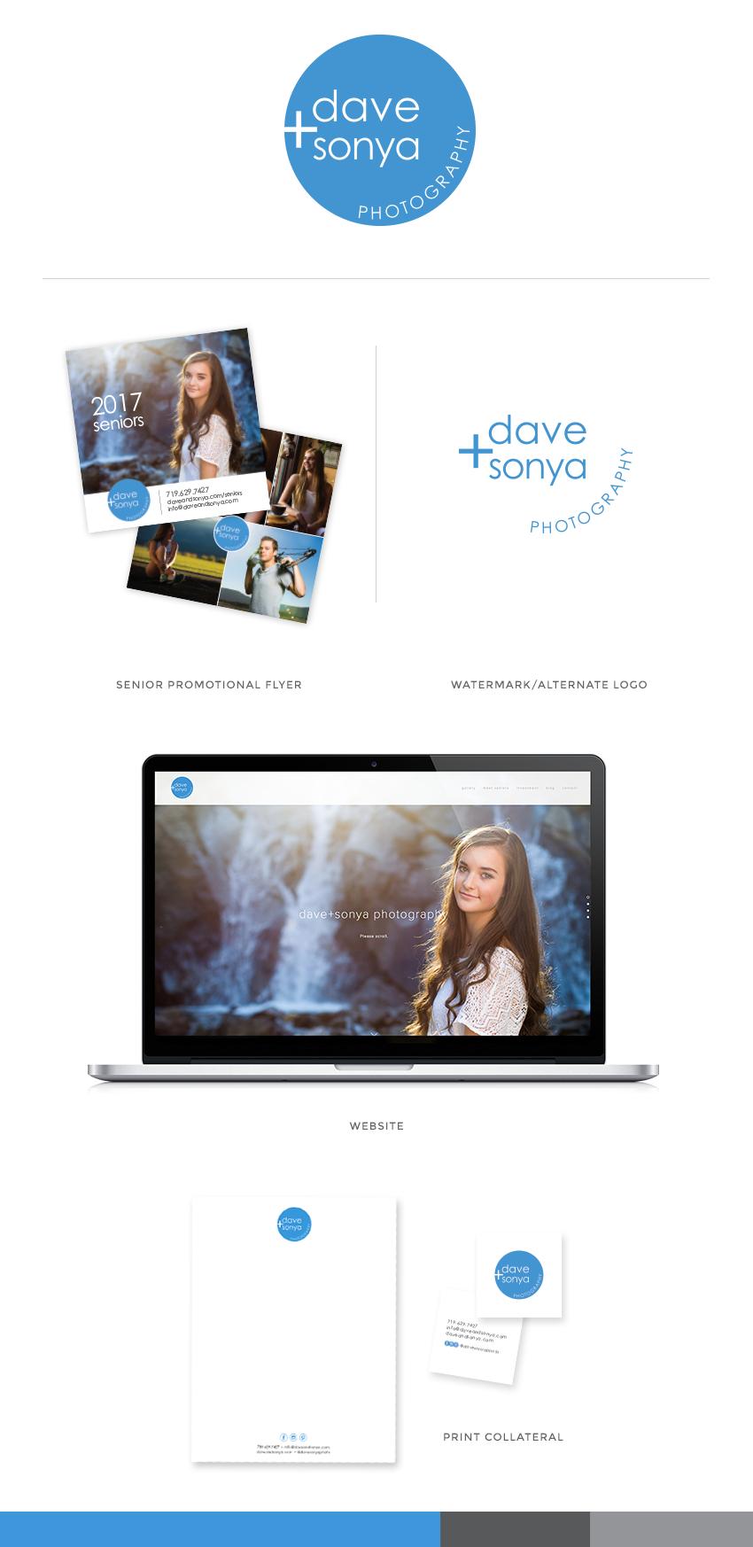 Colorado Springs photographer logo and brand design. Senior portrait photographer, Dave + Sonya Photography.
