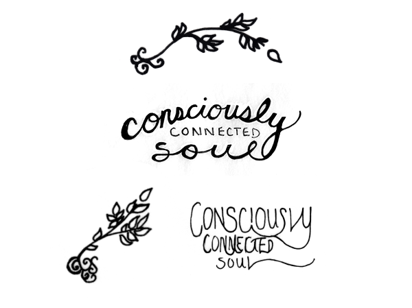 Consciously Connected Soul brand concepts - sketches by Finicky Designs