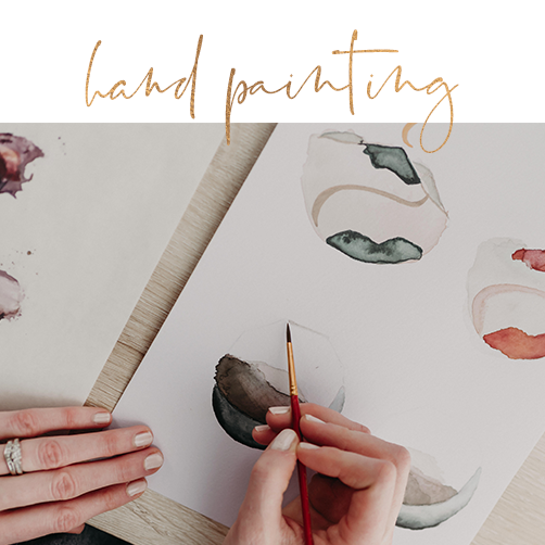 I love adding custom, hand crafted elements to your brand. If specified as a preferences in our consult, I will print my digital renderings, transfer to watercolor paper, and paint and/or ink designs that are unique to your brand.