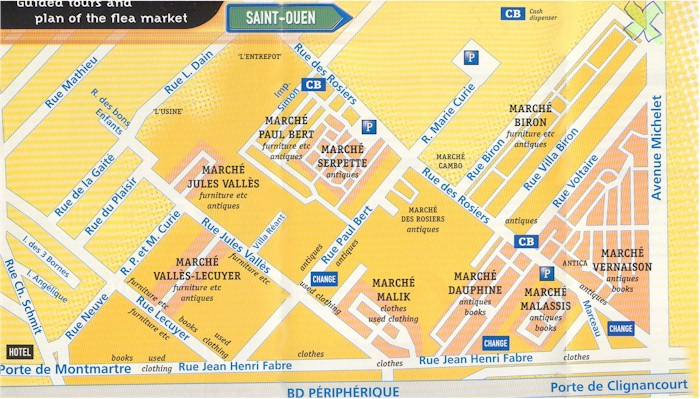 A map of the Paris Flea Market - the Marche aux Puces Saint Ouen