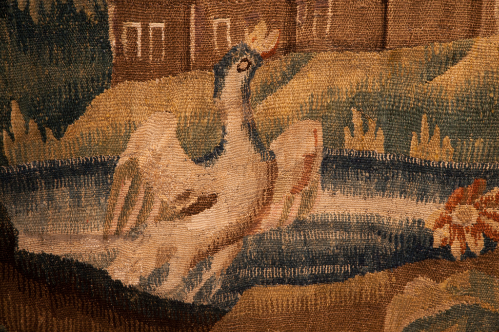 Detail of a 17th c verdure tapestry