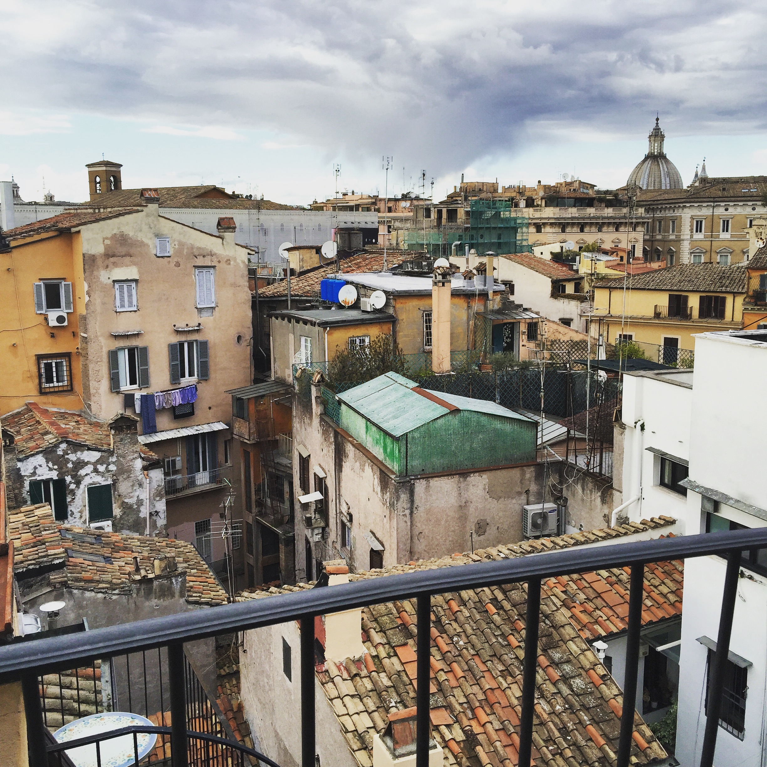The early March view from our balcony in Rome at  Hotel Campo de' Fiori