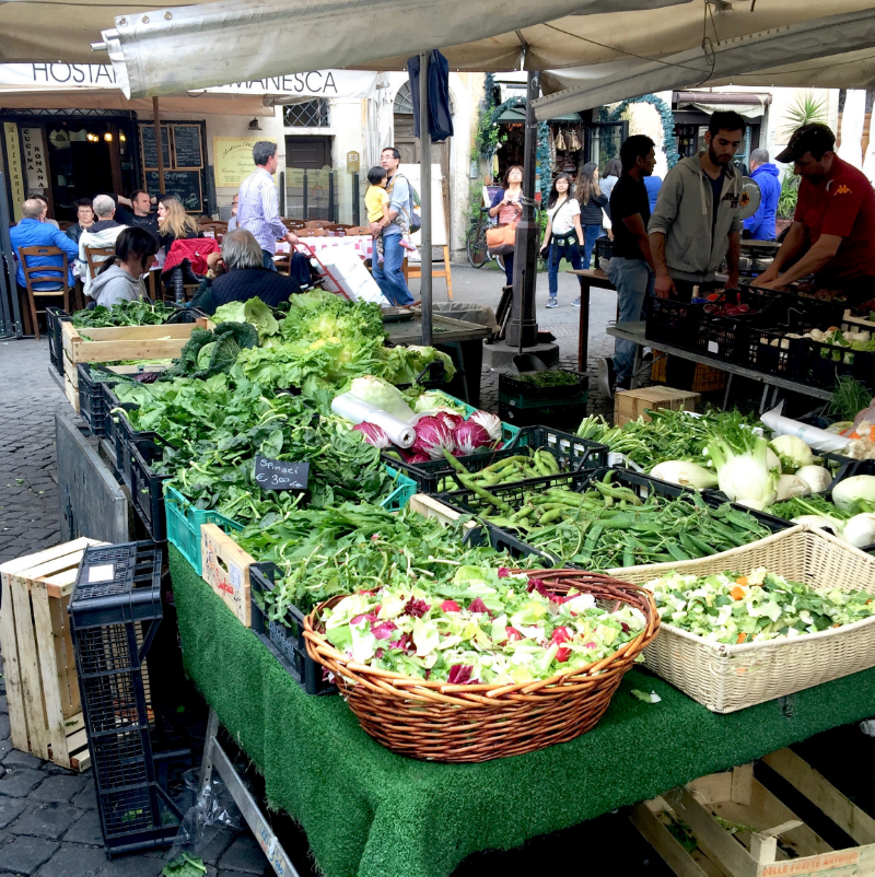 A vegetable stand in the Campo de' Fiori market