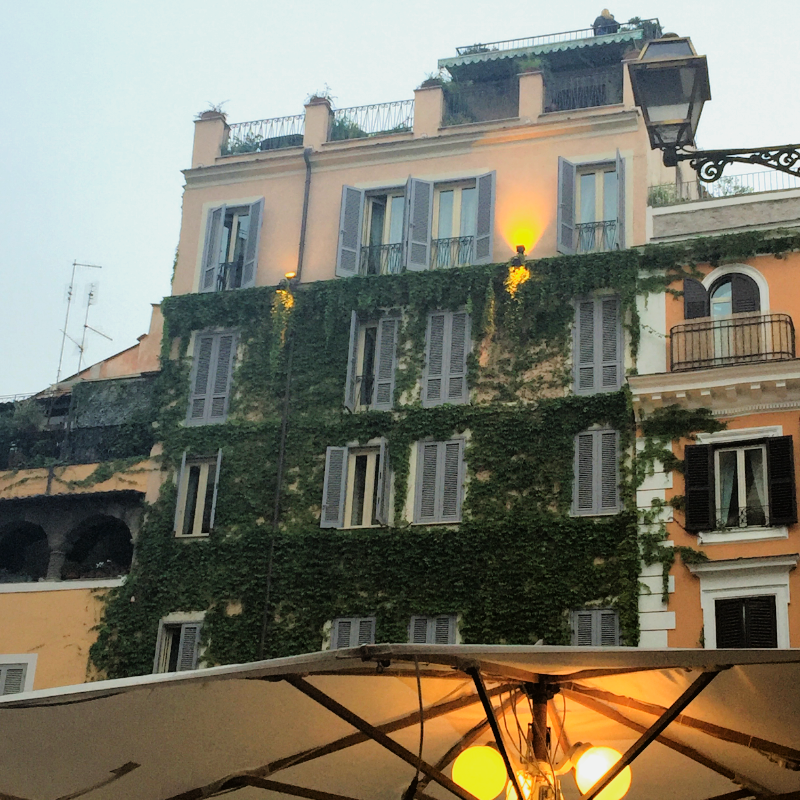 The view of  Hotel Campo de' Fiori  from our favorite enoteca  Verso Sera
