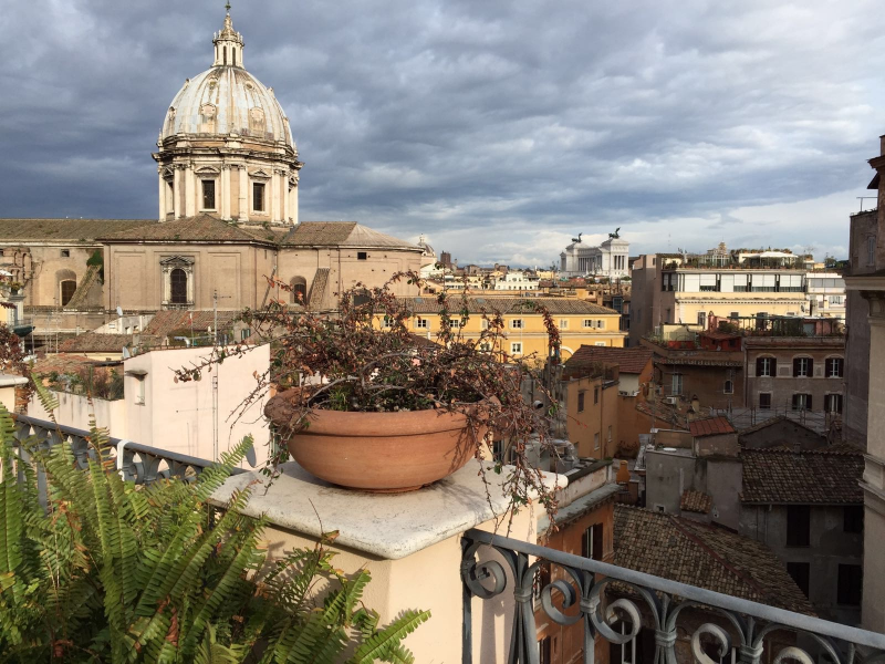 The late-winter view from the rooftop at  Hotel Campo de'Fiori, Rome