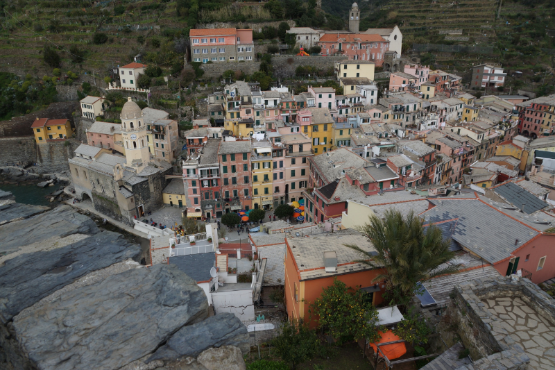 We visited the Cinque Terre the end of March - a great way to greet April! This is the view of Vernazza from the tower of Castello Doria....