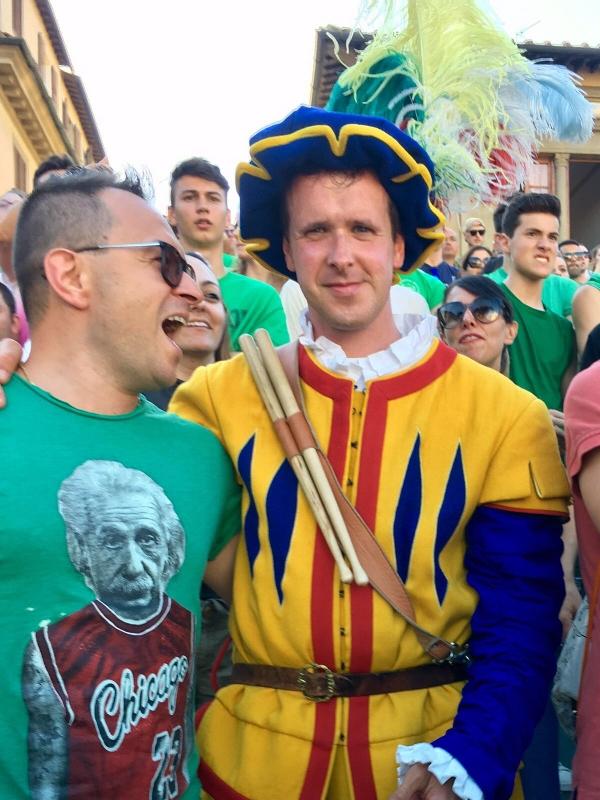 At Calcio Storico - A member of the retinue for Verde team