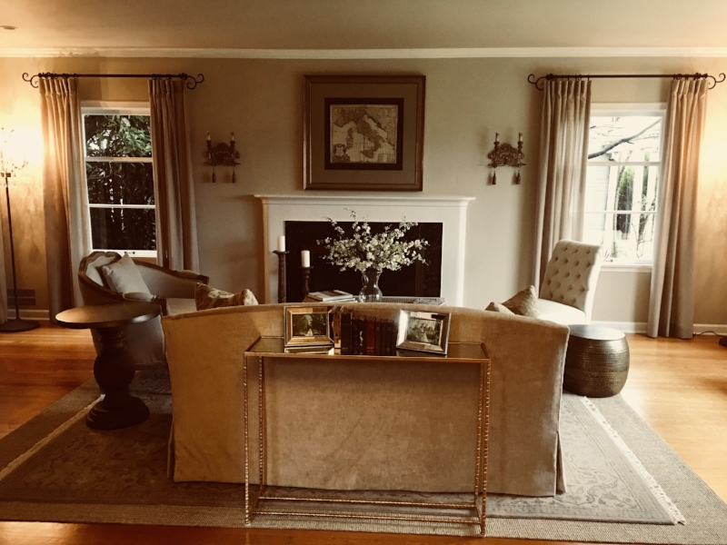 We sourced from various vendors for everything! Note oriental rug atop sisal rug; a great way to make the rug larger.