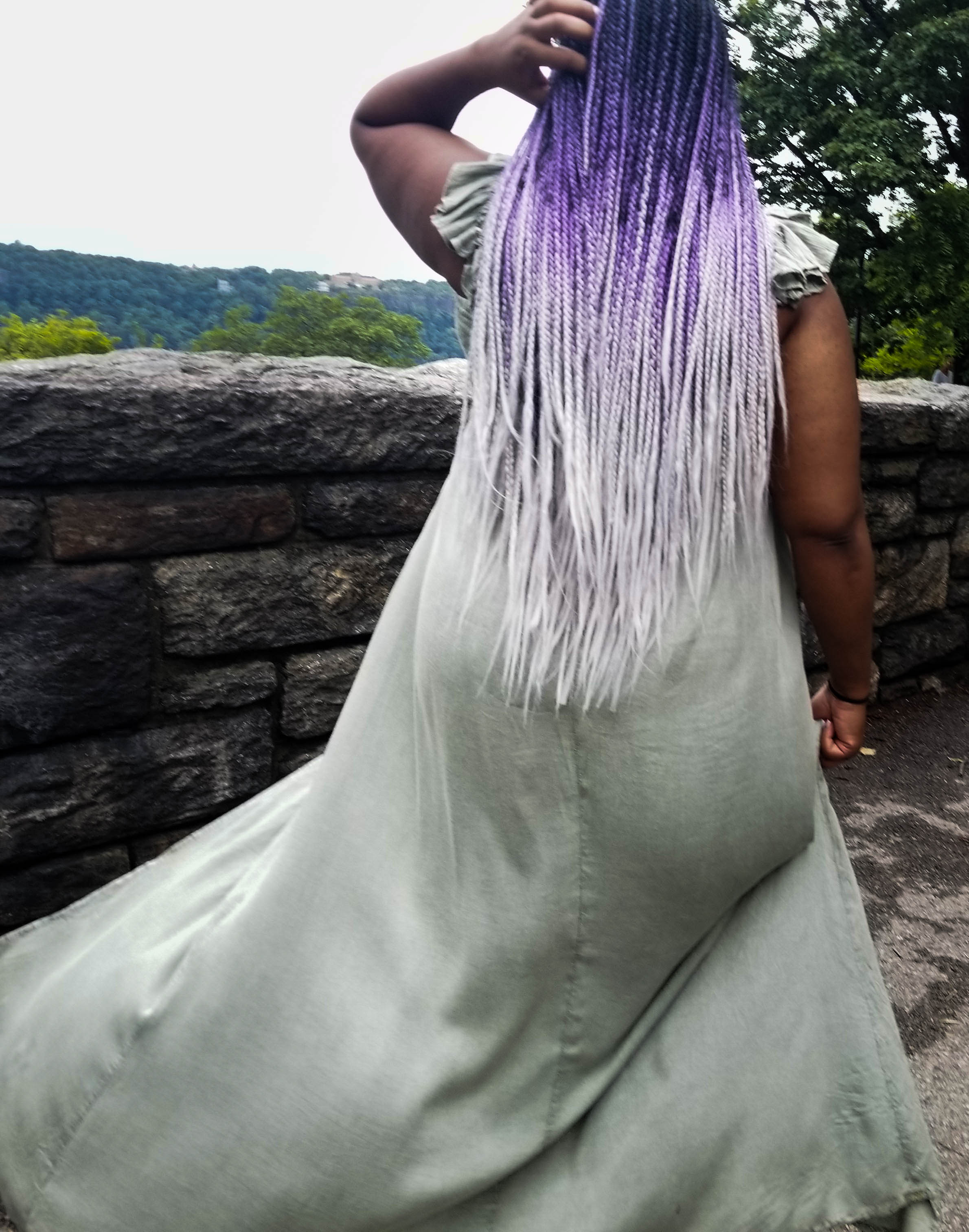 long purple and grey ombre braids