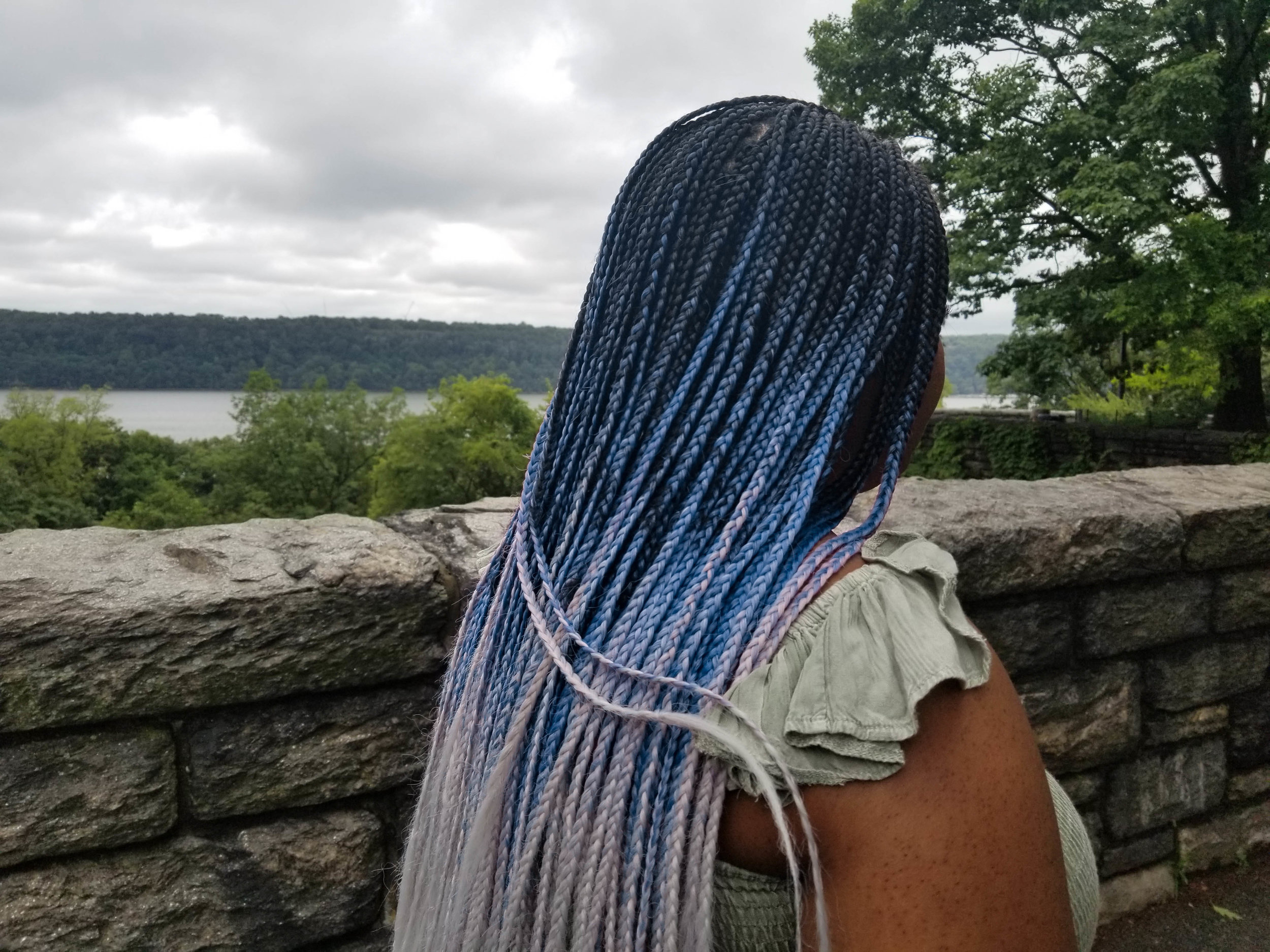 blue and grey ombre micro braids