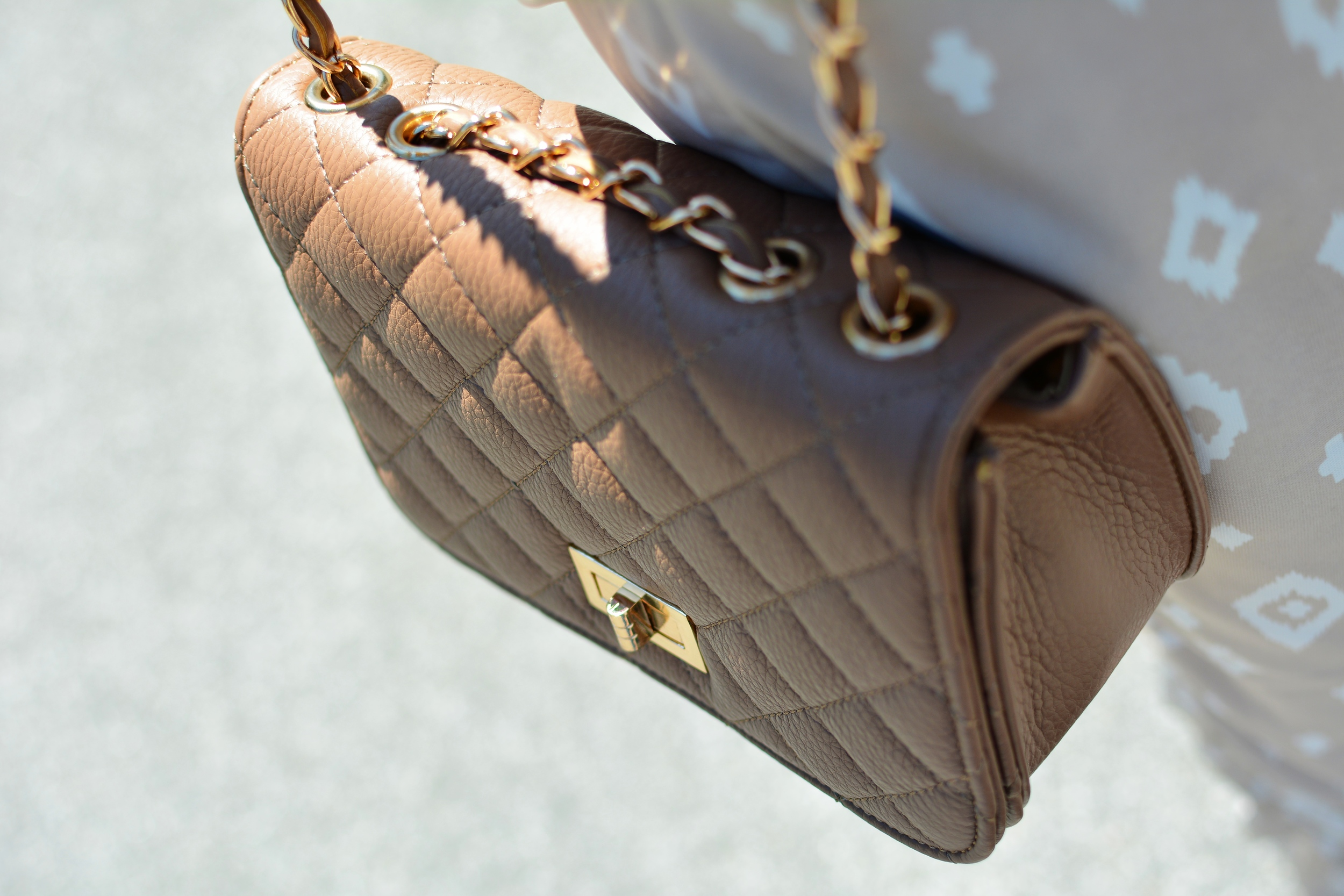 Chanel inspired quilted cross body bag with gold chain strap