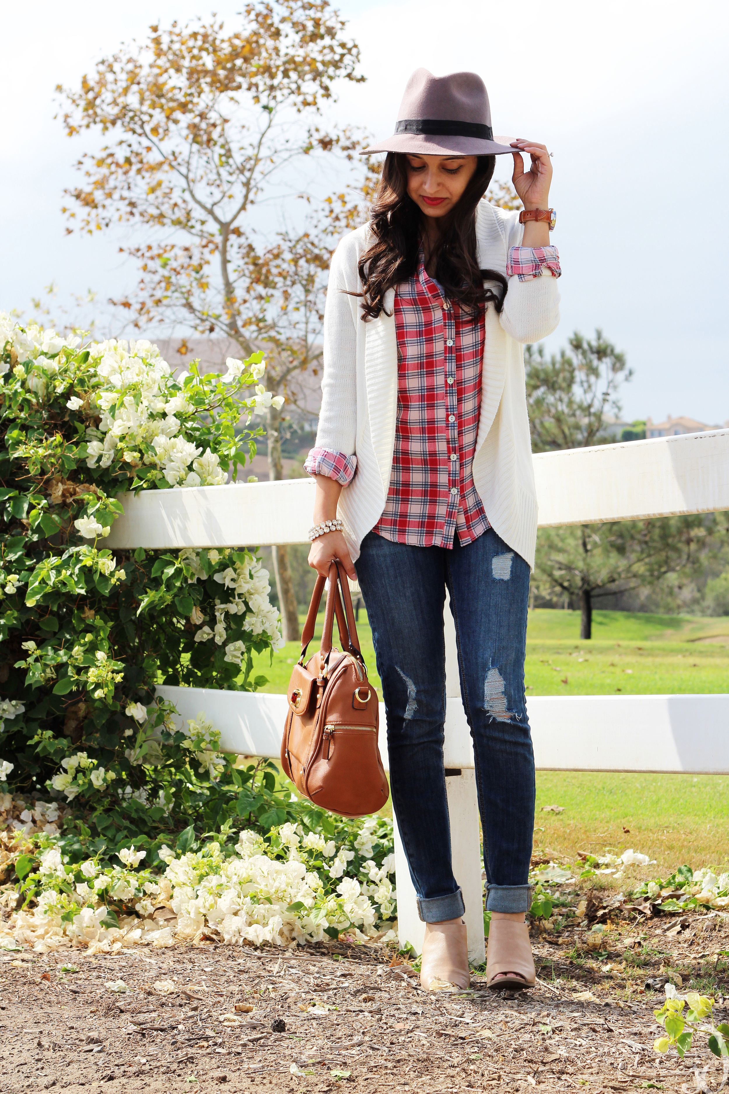 Fall Fashion with plaid, booties, and felt hats