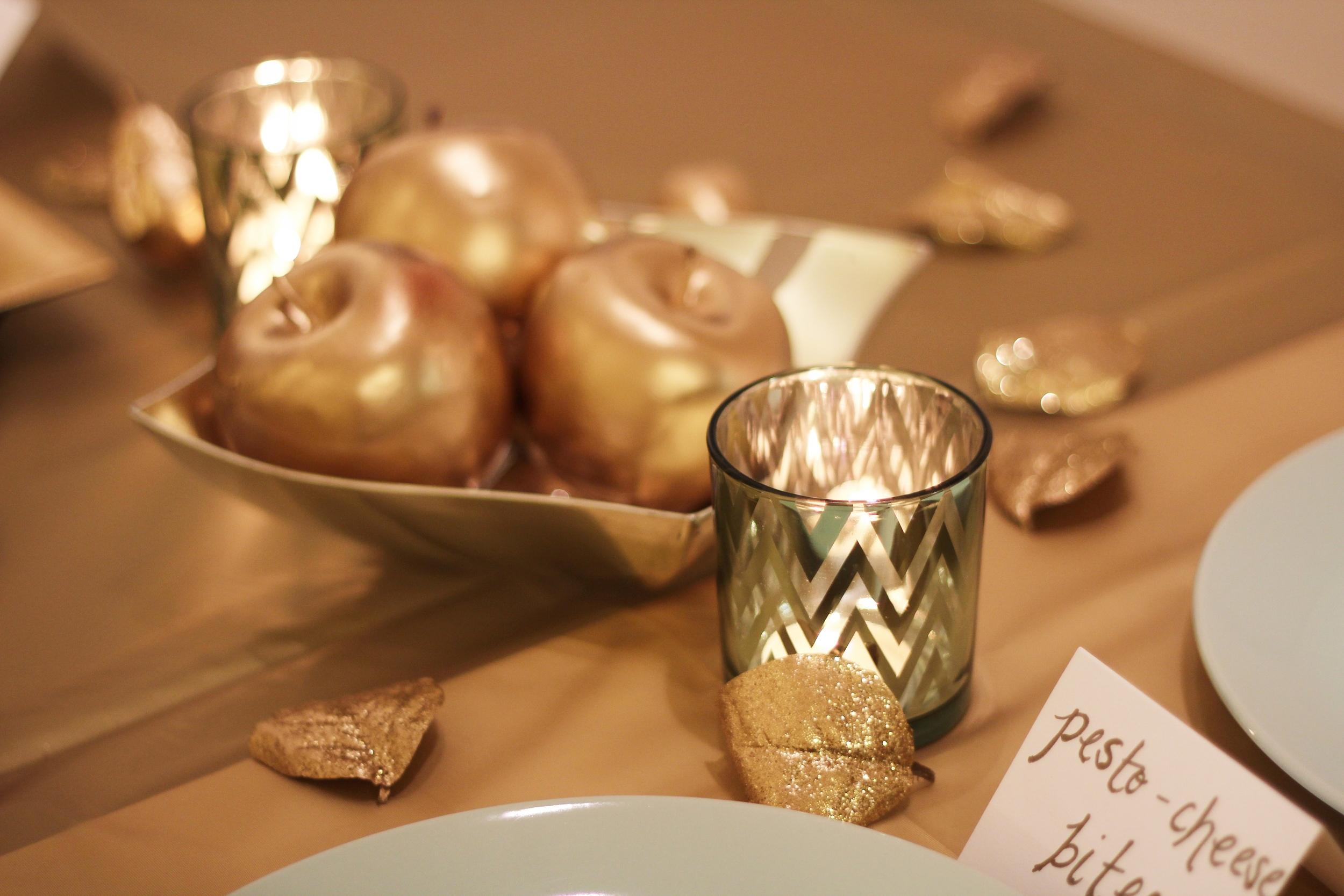 chevron candle holders, golden apples, glitter leaves