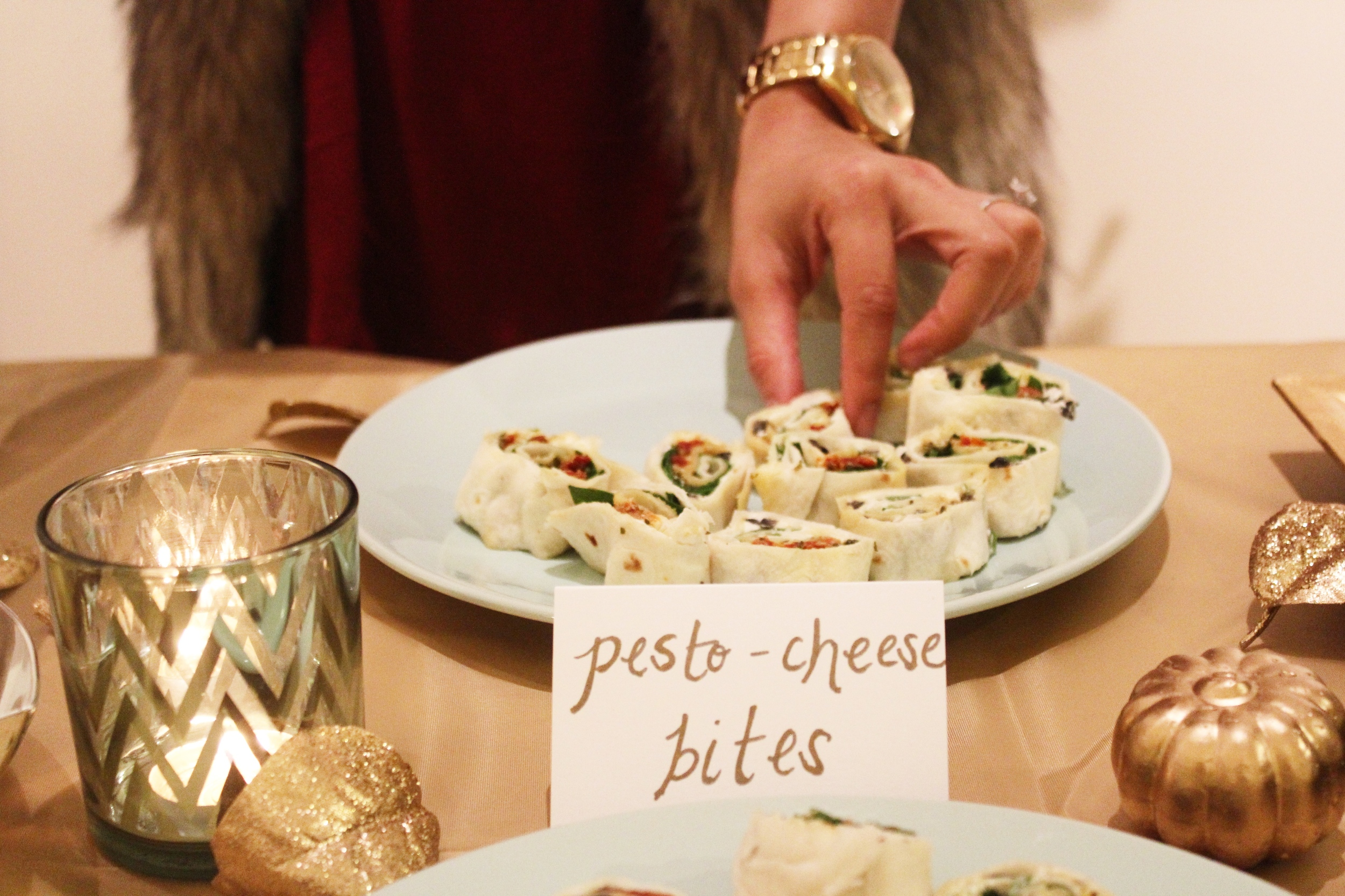 spinach pesto cheese olive appetizer bites