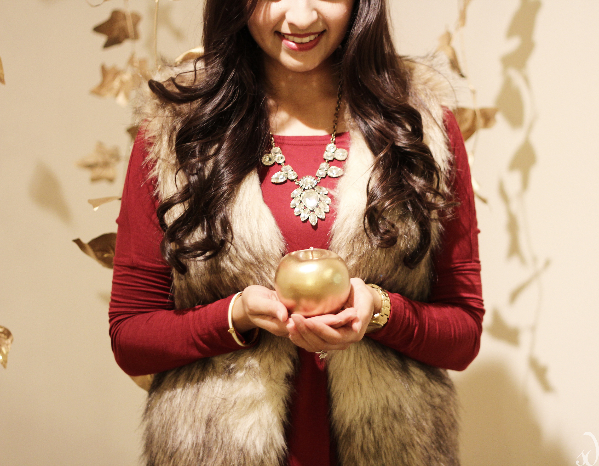 faux fur vest with burgundy fall outfit