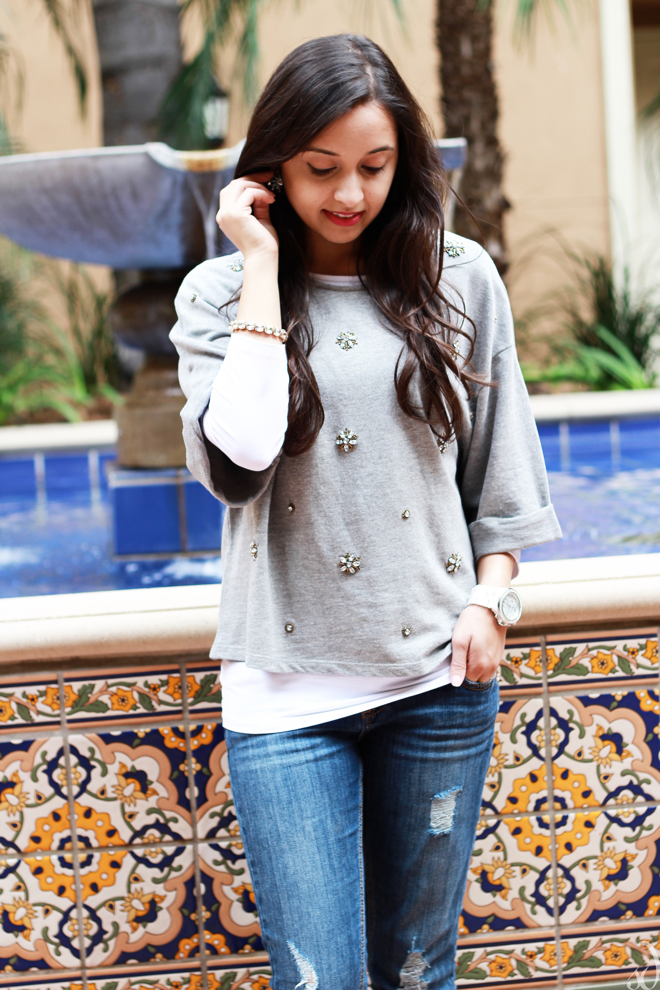 Sparkling Embellished Top with boyfriend jeans and heels