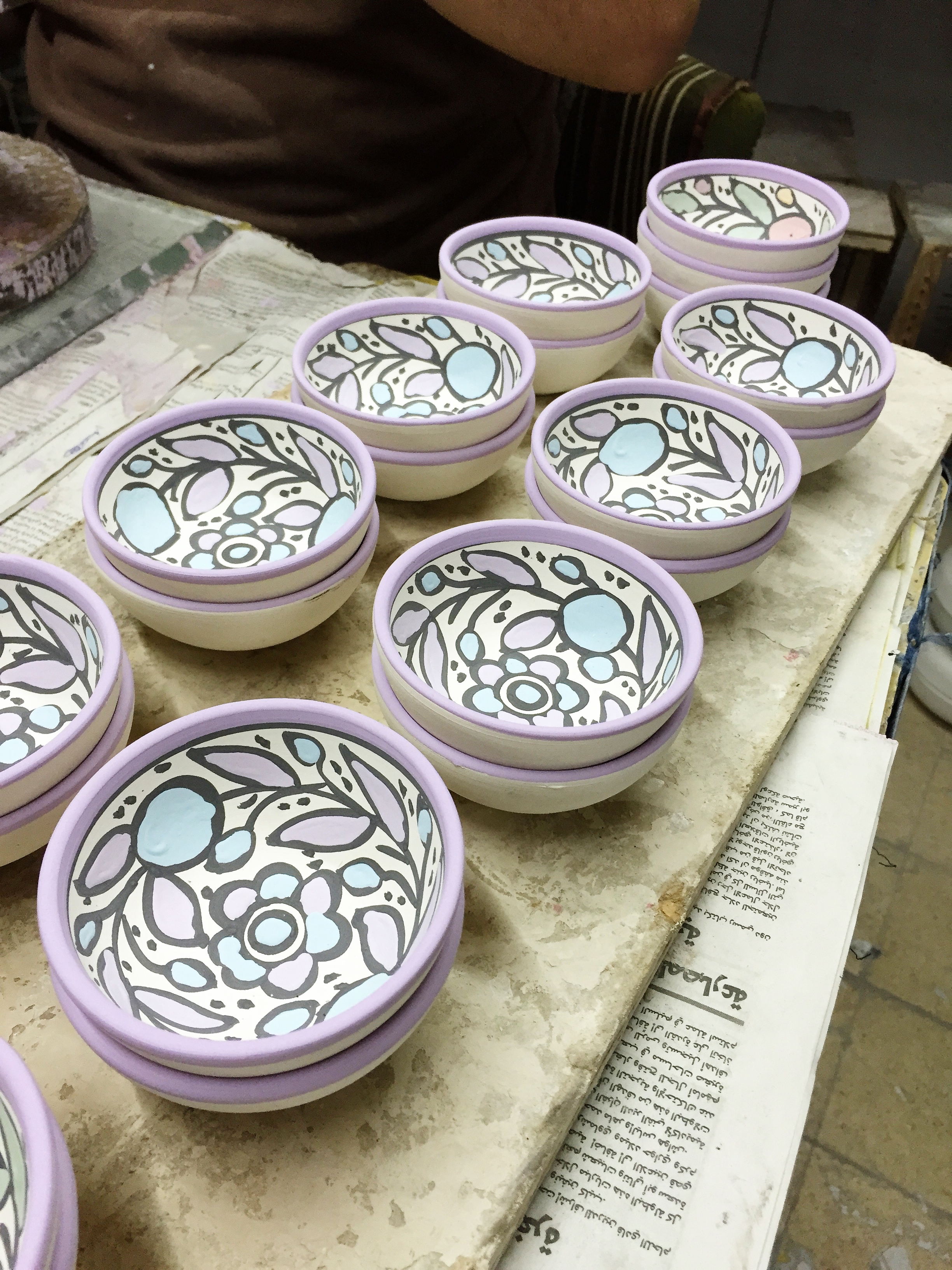Some of the handmade pottery before being baked