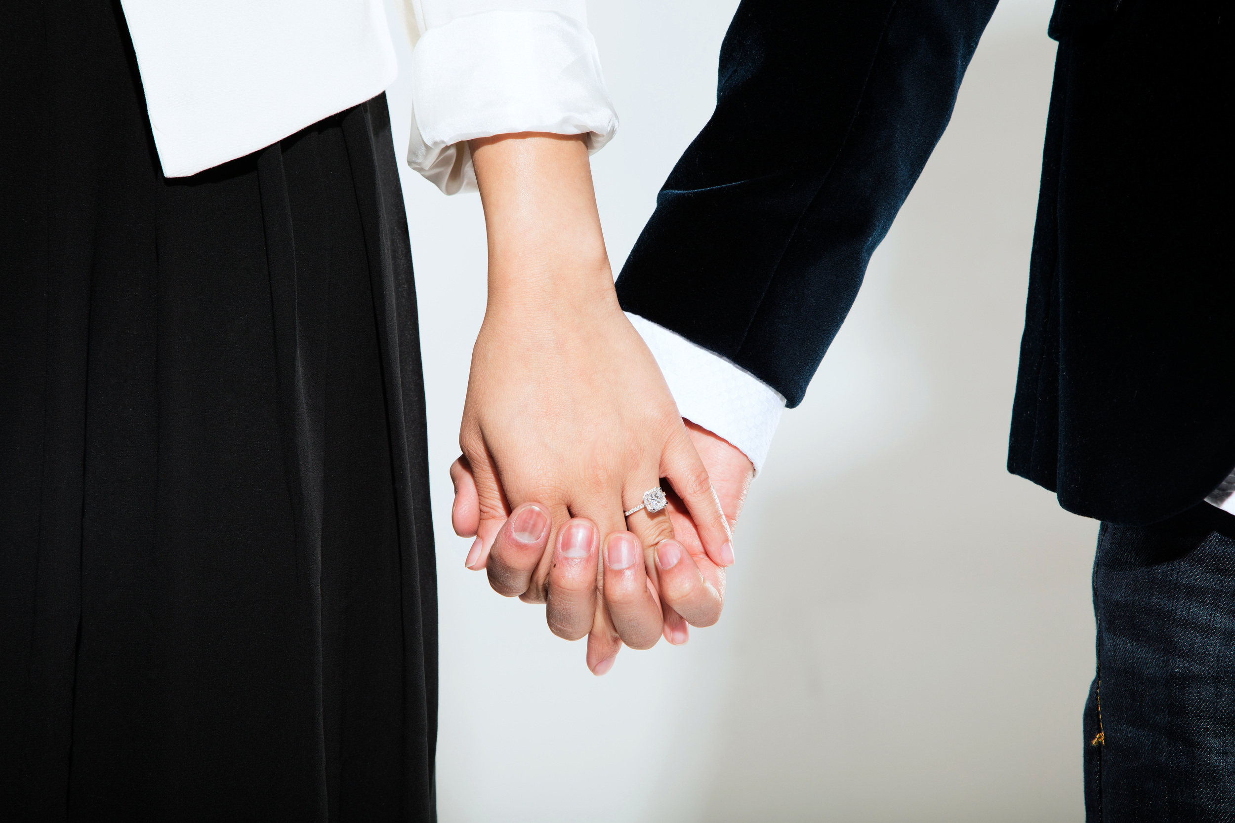 holding hands, engaged, engagement shoot, engagement ring, proposal, indian wedding