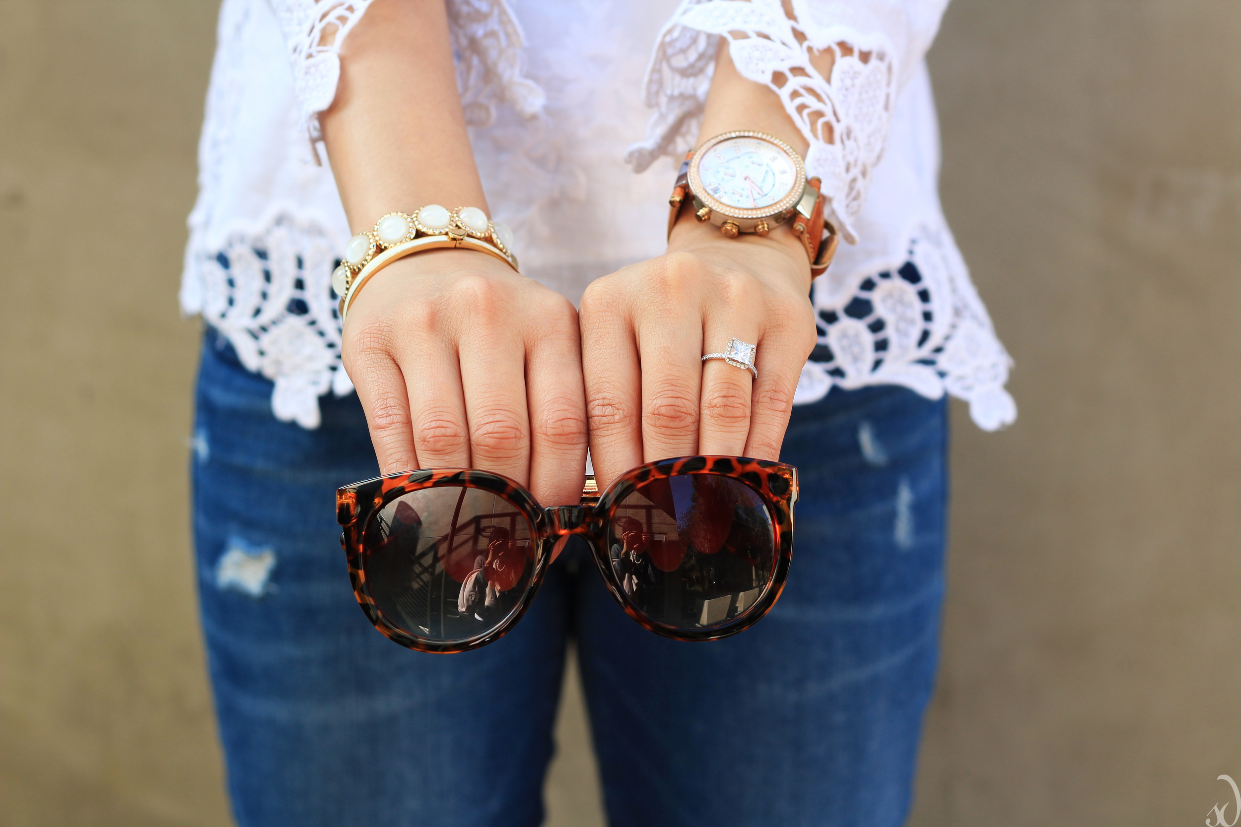 Sunglasses, tortoise shell, ivory, bracelets, engagement ring, lace